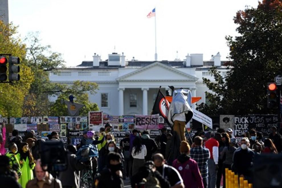 Protestas contra Donald Trump frente a la Casa Blanca en Washington.