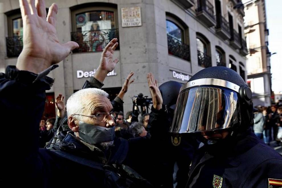 Imagen de archivo de una manifestación contra la ley mordaza en Madrid.