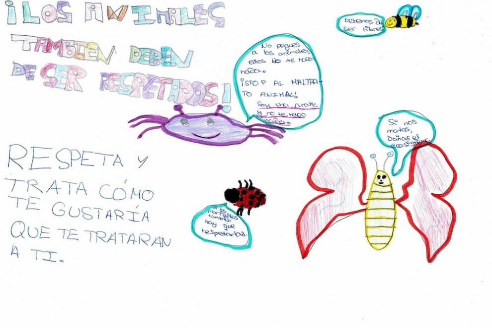 Un dibujo de Lucía, una alumna de un colegio de Valladolid, sobre los derechos de los animales.