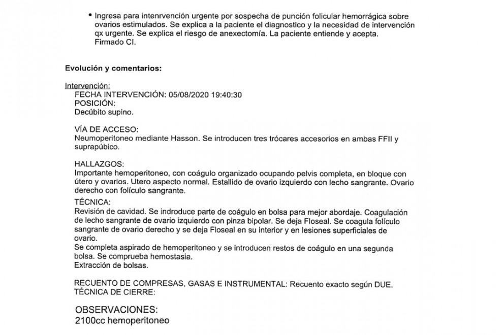 Informe del Hospital La Paz de Madrid. - Cedida