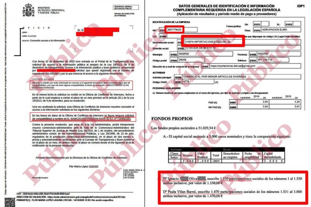 Documentos que demuestran que el subinspector Ignacio Oliva es propietario de la empresa Hispa Importaciones Deluxe, SL, pero no tiene concedida ninguna compatibilidad para ejercer una segunda actividad.