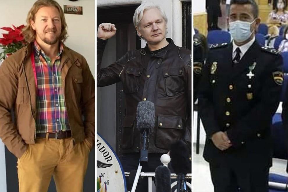 David Morales, propietario de UC Global, Julian Assange, creador de Wikileaks, e Ignacio Oliva, dueño de Hispa Exportaciones Deluxe.