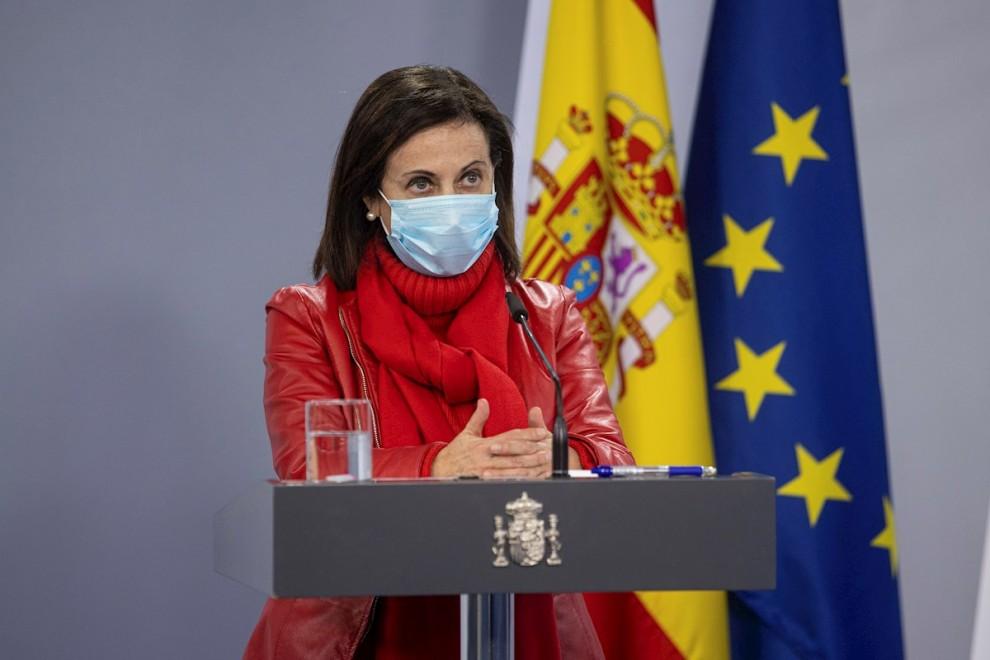 13/01/2021.- La ministra de Defensa, Margarita Robles durante la rueda de prensa tras la reunión del Comité Estatal de Coordinación y Dirección del Sistema Nacional de Protección Civil (CECOD) para analizar el paso de la borrasca 'Filomena', celebrada est