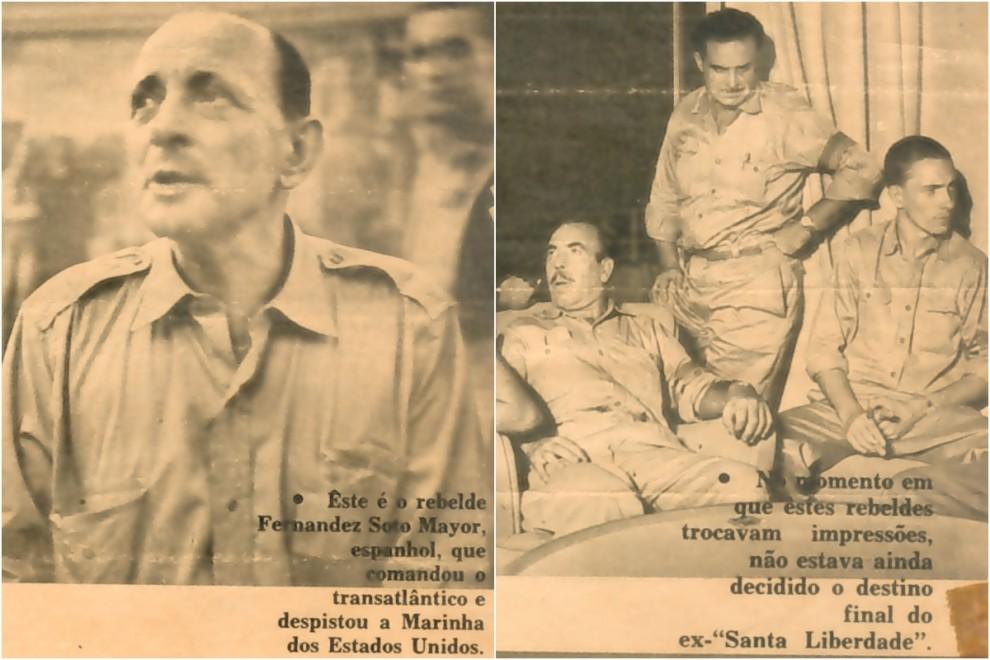 El comandante Sotomayor y su hijo Federico Fernández Ackermann (derecha), en la prensa brasileña.