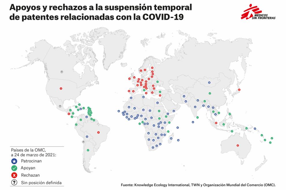 Mapa de apoyo y rechazo a la supresión de patentes en la OMC.