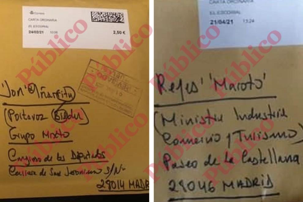 Los sobres de las cartas enviadas al diputado de Bildu Jon Iñárritu y a la ministra Reyes Maroto, escritos con la caligrafía de la misma persona.