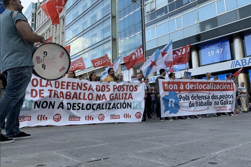 Una protestas de CCOO por la deslocalización.