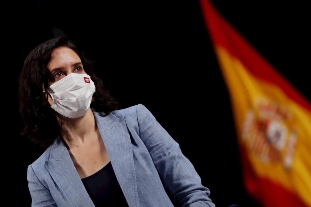 La presidenta madrileña, Isabel Díaz Ayuso, el pasado martes 6 de junio en el Rectorado de la Universidad Rey Juan Carlos (URJC) en Móstoles.