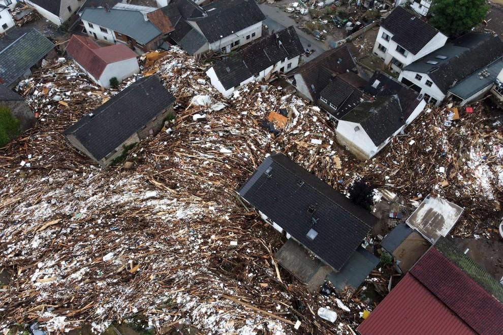 Fotografía tomada por un dron sobre la aldea destruida de Schuld.