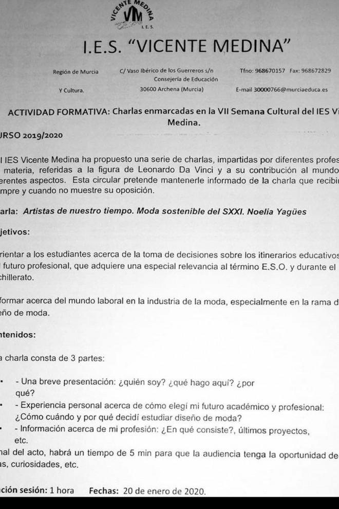 Circular sobre una charla programada en la semana cultural de un centro de Murcia.
