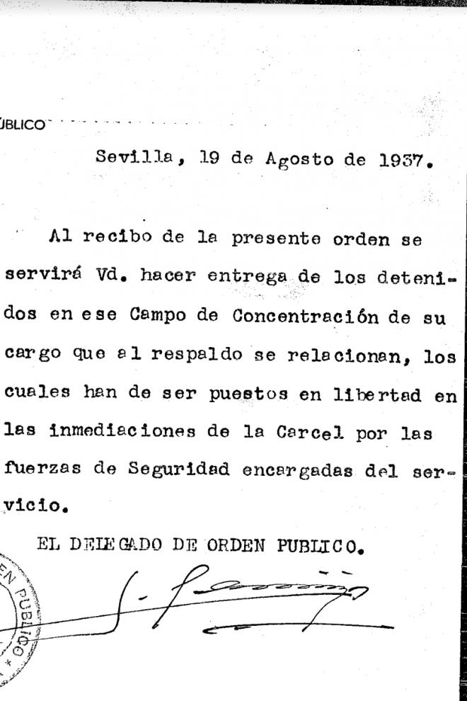 Orden de traslado de presos al campo de los Remedios
