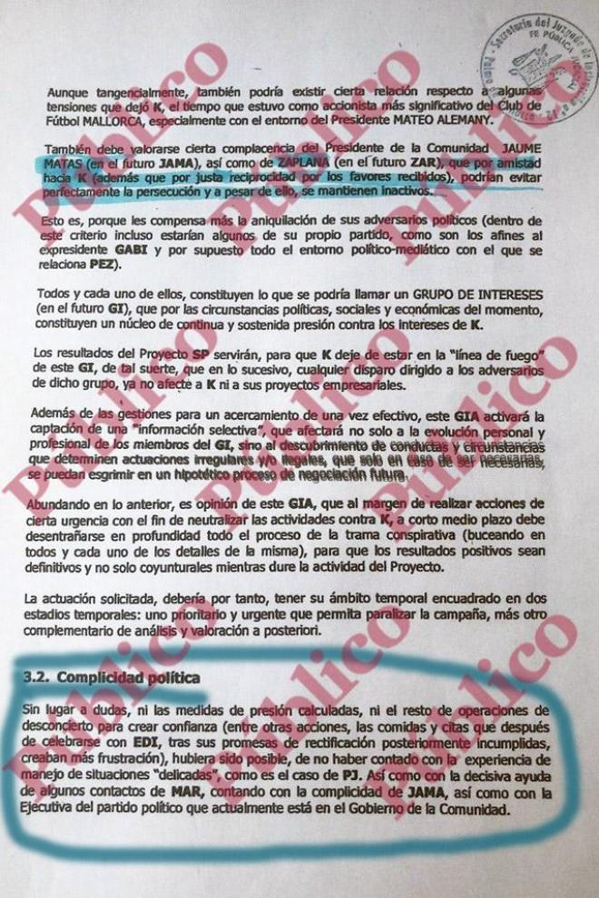 Página 4 del informe 'Swimming Pool' que Villarejo hizo para Cursach sobre el acoso de 'El Mundo' contra él.