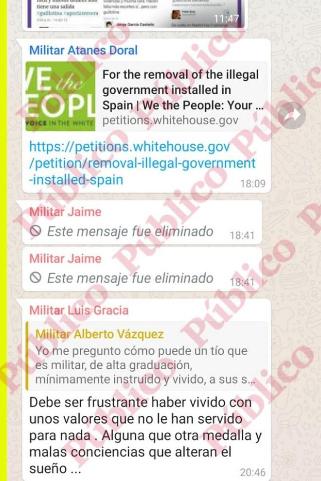 Captura del chat con la petición a la Casa Blanca para derrocar al Gobierno de España.