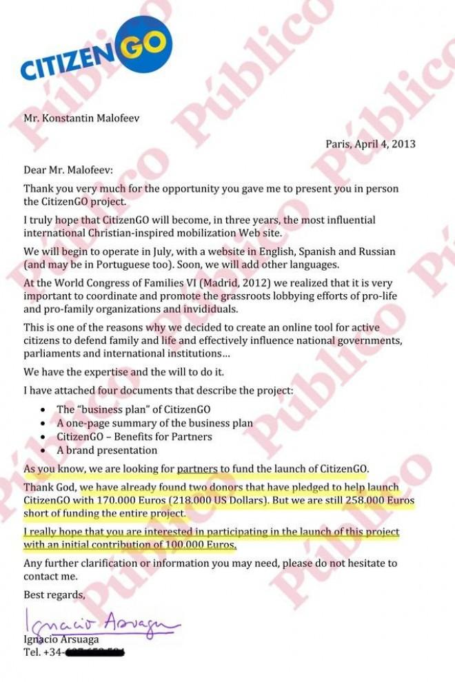 Carta de Arsuaga ao oligarca russo Maloféyev, pedindo-lhe 100.000 euros.