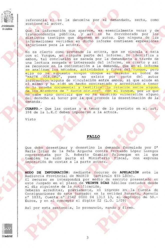 Página 3 de la sentencia sobre Hazte Oír y El Yunque.