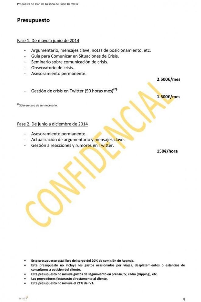 Presupuesto de Triada Comunicación y Relaciones Públicas, SL, para la gestión de la crisis de El Yunque. – WL