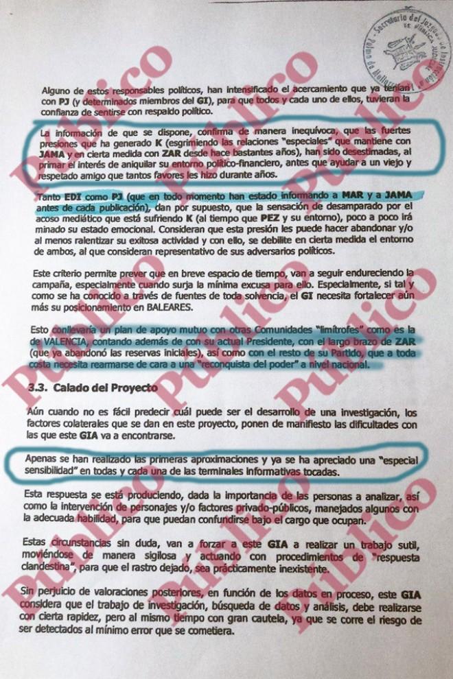 """Página 8 del informe de Villarejo a Cursach, detallando la """"complicidad política"""" de PedroJ e Inda."""