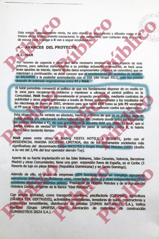 Página 9 del informe de Villarejo para Cursach, donde se inicia el repaso de las actividades y el emporio empresarial del exministro Matutes.