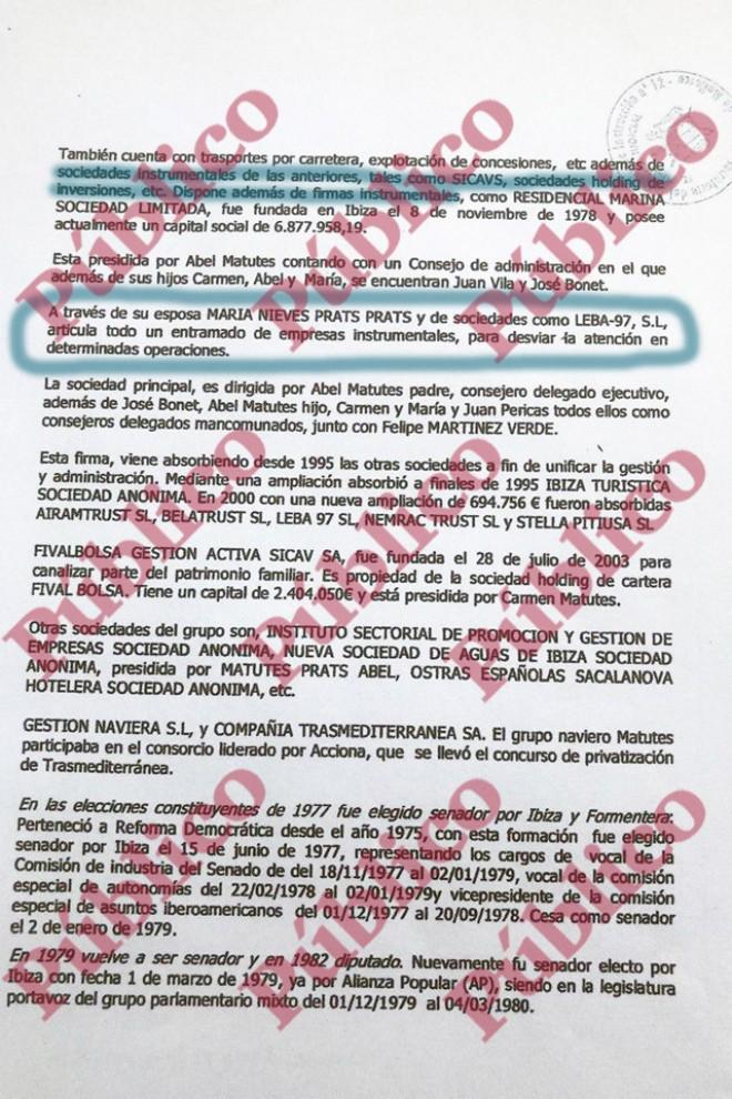 """Pág 10 del informe de Villarejo para Cursach donde acusa a Matutes de tener un """"entramado de empresas instrumentales""""."""
