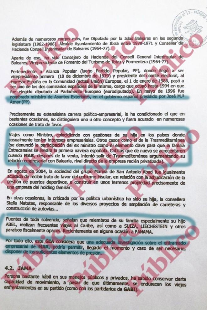 Página 11 del informe de Villarejo para Cursach en el que acusa a Matutes y a su familia de esconder parte de su imperio en paraísos fiscales.
