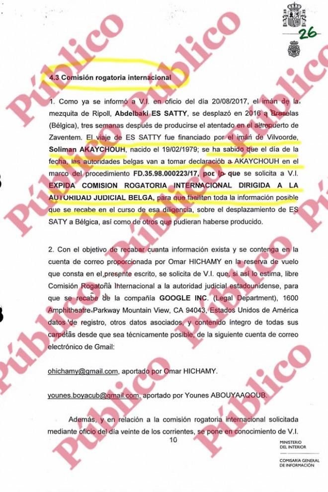 Folio 26 del sumario de la causa sobre los atentados de Las Ramblas y Cambrils.