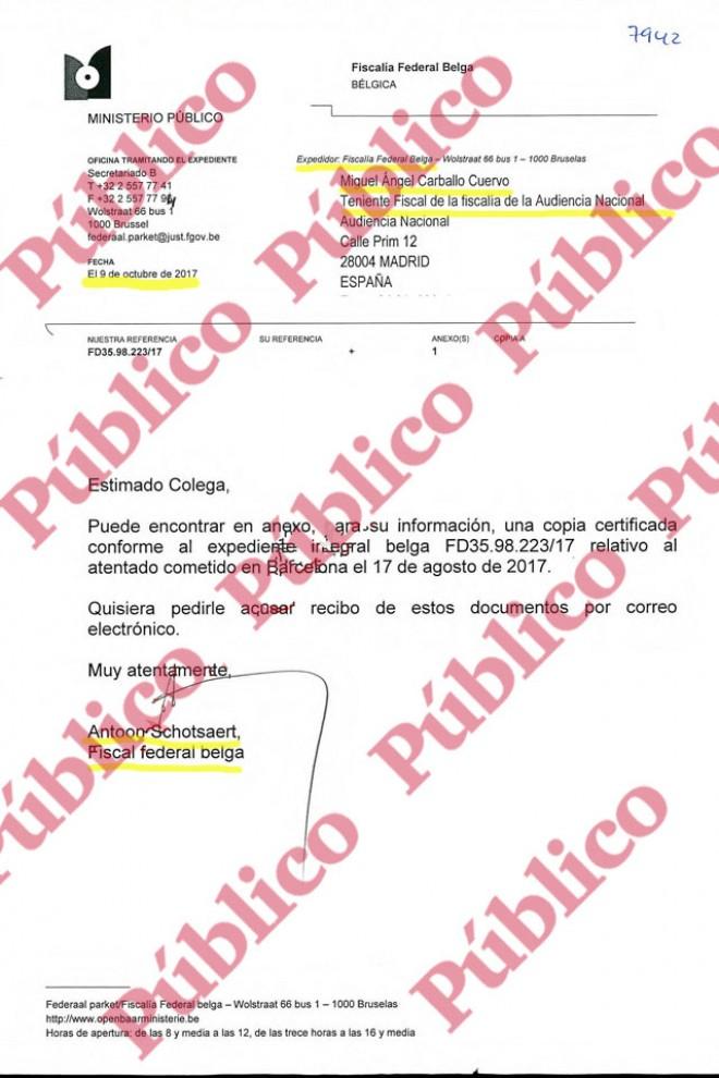 Folio 7.942 del sumario de la causa sobre los atentados de Las Ramblas y Cambrils.