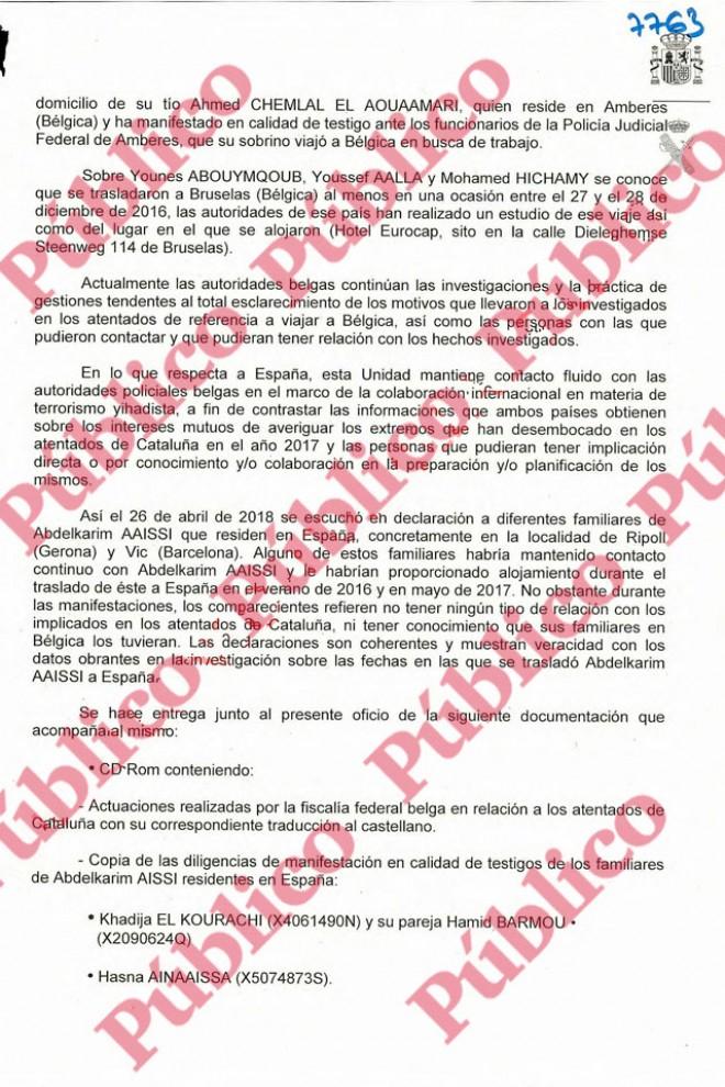 Folio 7.763 del sumario de la causa sobre los atentados de Las Ramblas y Cambrils.