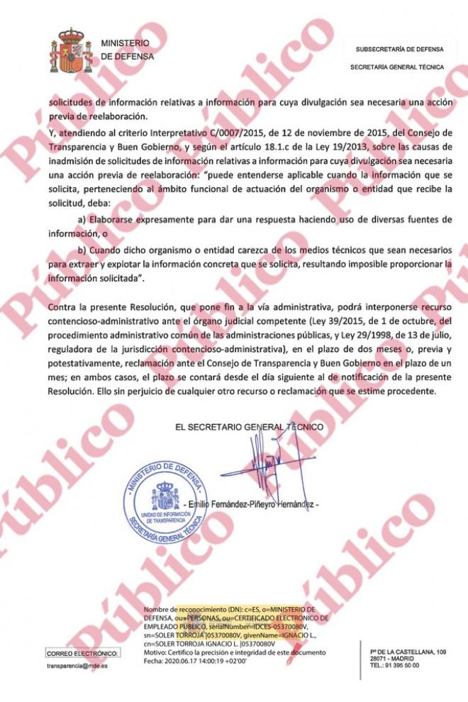 Conclusión de la inadmisión de la solicitud de información sobre núcleos extremistas en el Ejército.