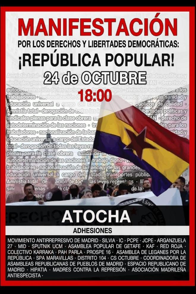 Cartel convocando a la manifestación