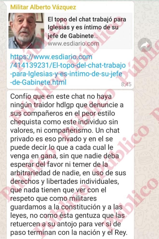 """""""Confío que en este chat no haya ningún traidor"""", escribe el Militar Alberto Vázquez en el chat de la IX de Artillería."""
