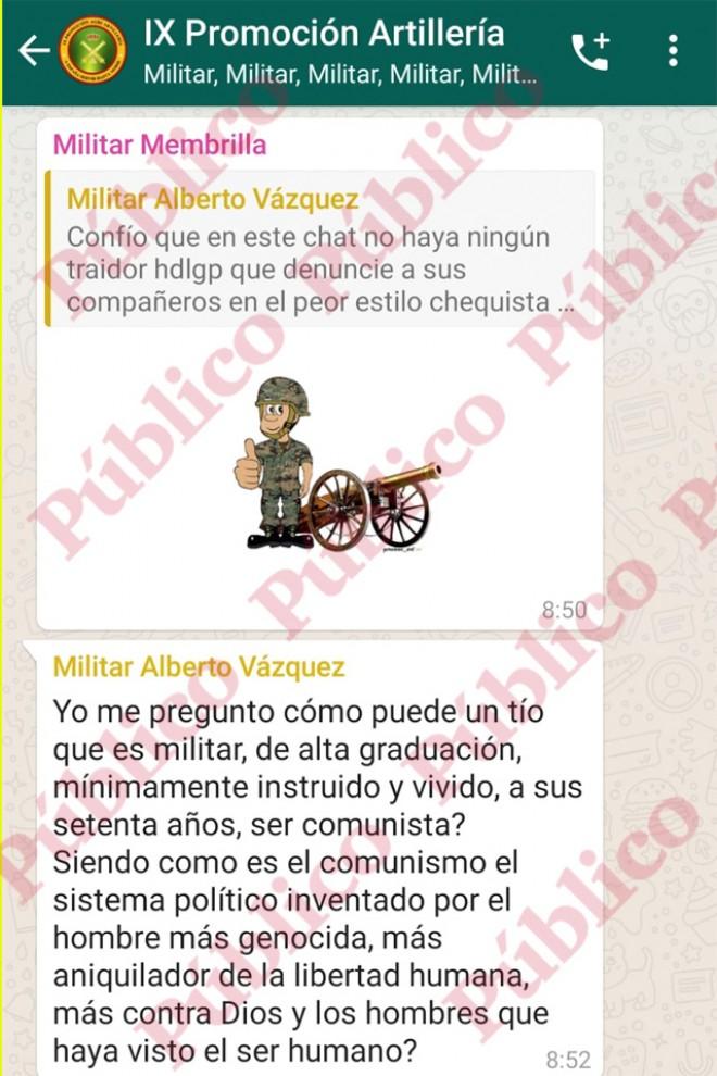 'Sticker' de Membrilla y coninuación del mensaje de Vázquez.