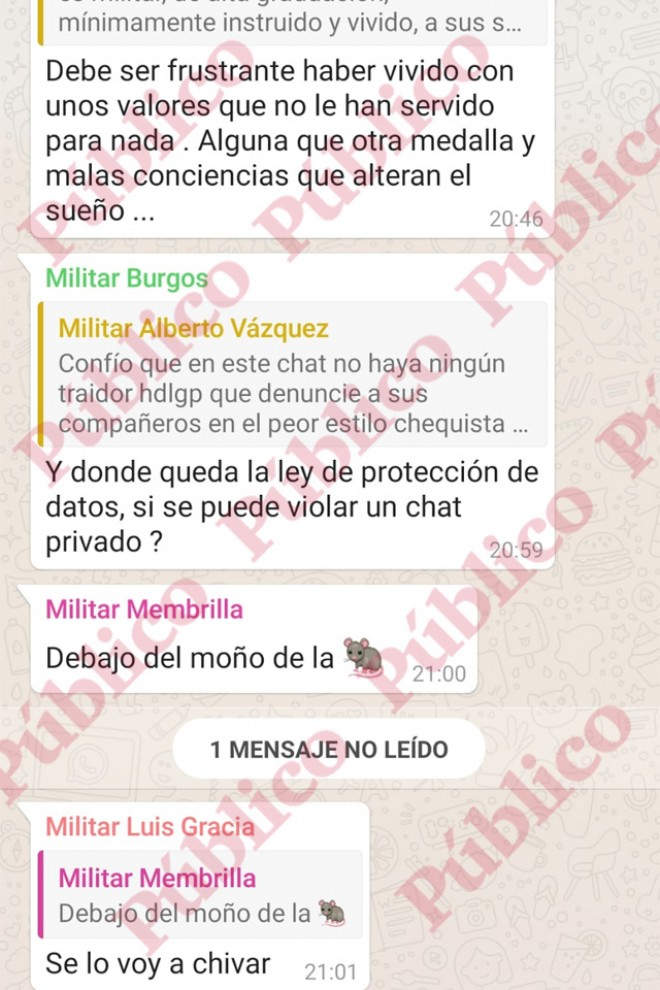 """Militar Burgos"" interviene en el chat."