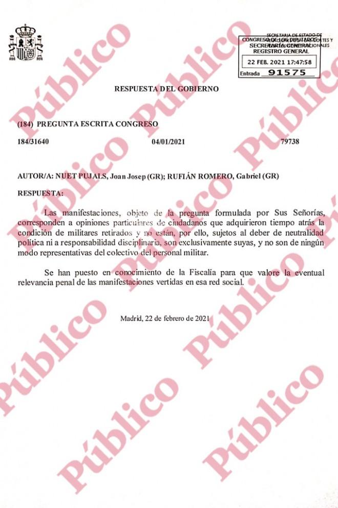 """Respuesta gubernamental a las preguntas de ERC sobre militares """"filofascistas""""."""