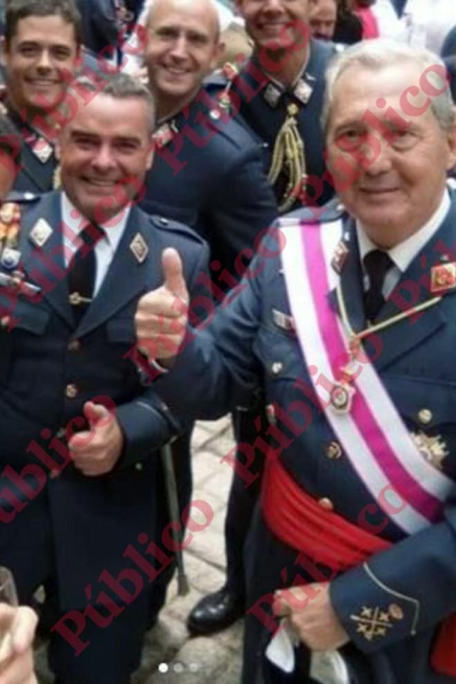 El capitán Meroño, junto al ex Jefe del Estado Mayor del Aire, general Jiménez Ruiz, en 2018.