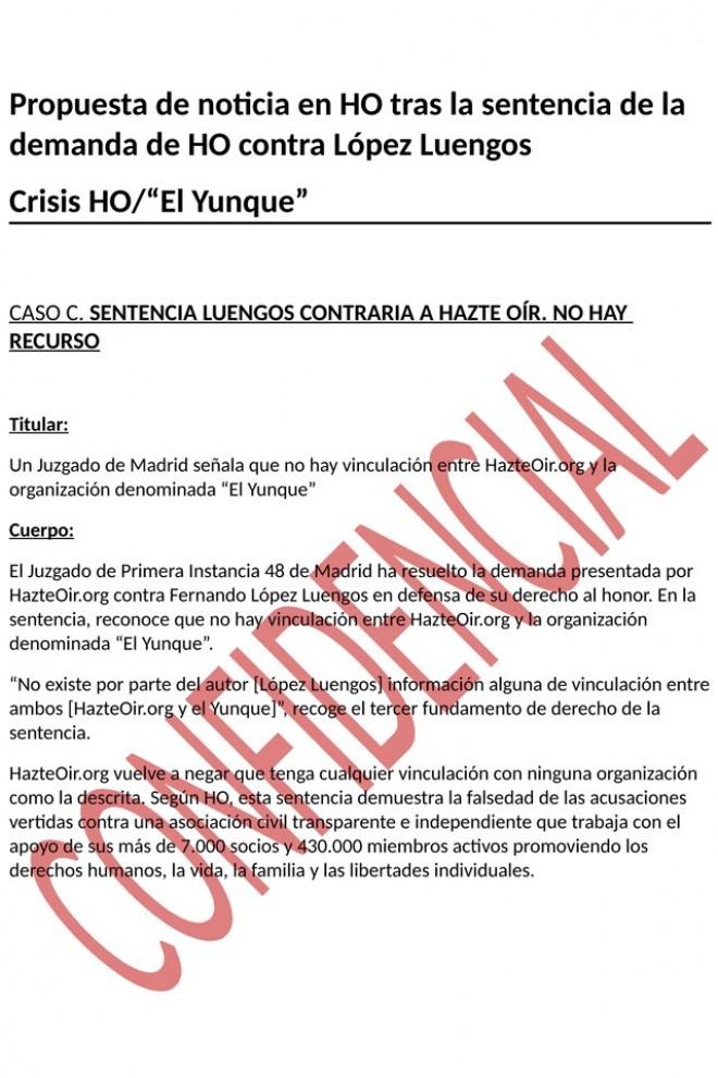 Propuesta de noticia en HO tras la sentencia de la demanda de HO contra López Luengos. WL