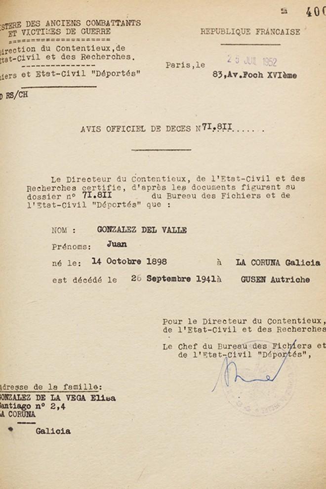 Comunicación de la República Francesa anunciando el fallecimiento de Juan González del Valle