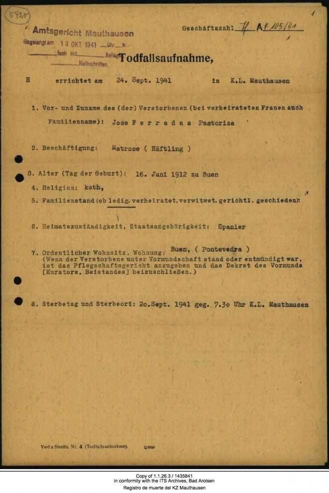 Registro de muerte del KZ Mauthausen