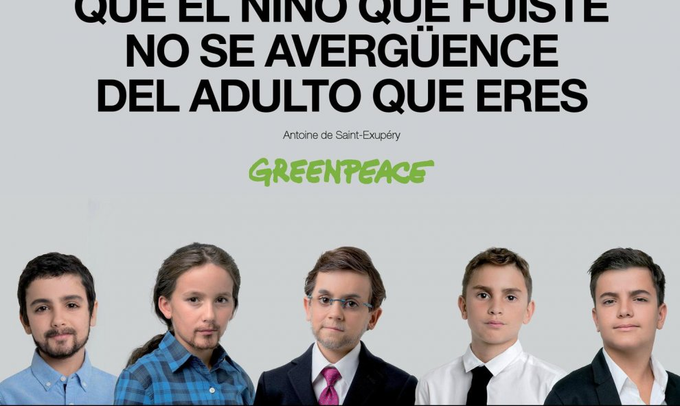 El cartel con cinco candidatos juntos. GREENPEACE
