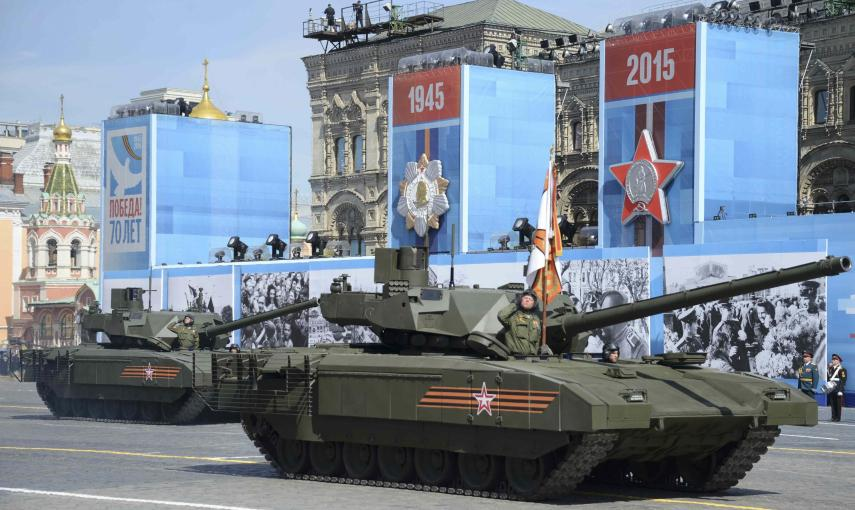 Russian T-14 tank with the Armata Universal Combat Platform drives during the Victory Day parade at Red Square in Moscow. REUTERS/Host Photo Agency/RIA Novosti