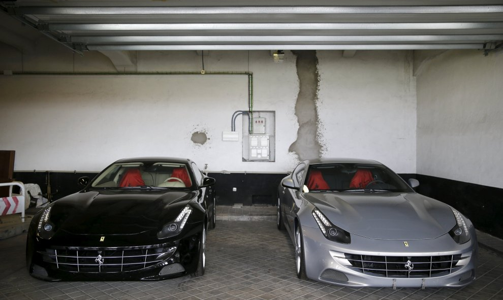 Two Ferraris that were given to former Spanish King Juan Carlos as a gift from the United Arab Emirates in 2011, are presented to the press before being auctioned, in Madrid, Spain, October 19, 2015. According to local media and the government, the unused
