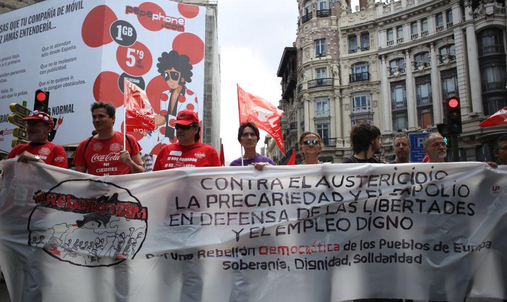 La columnas contra el paro el deterioro en derechos laborales durante la manifestación de las Marchas de la Dignidad en Madrid.- JAIRO VARGAS