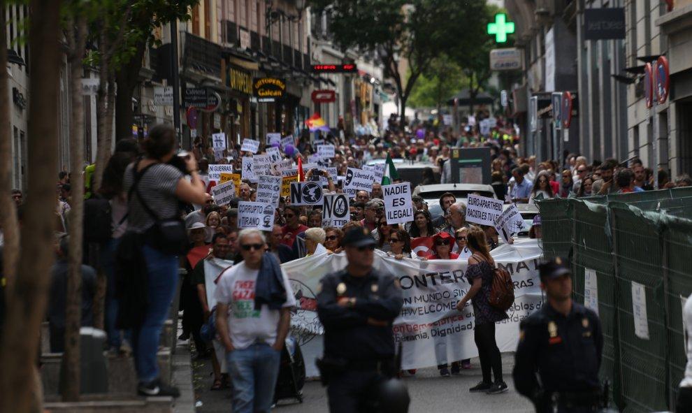 Columna en defensa de las refugiados durante las Marchas de la Dignidad en Madrid.- JAIRO VARGAS