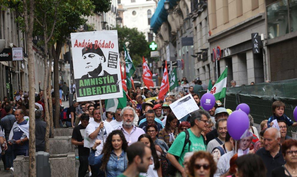 Una pancarta por la libertad de Andrés Bódalo, miembro del Sindicato Andaluz de Trabajadores.- JAIRO VARGAS