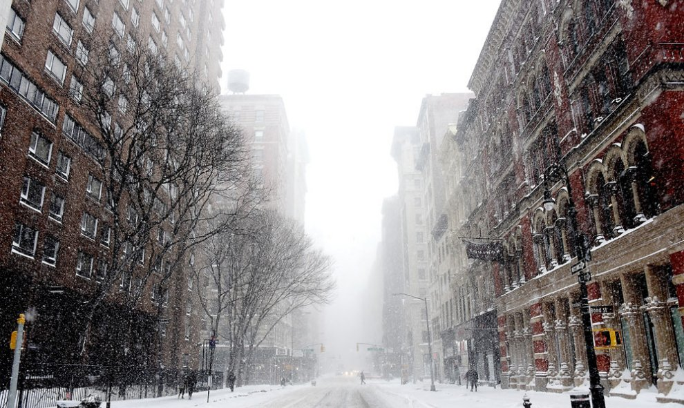 Las calles del Soho, en Nueva York, completamente nevadas. Nicholas Hunt/Getty Images/AFP