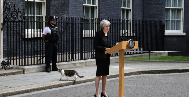 Theresa May, durante su comparecencia. REUTERS