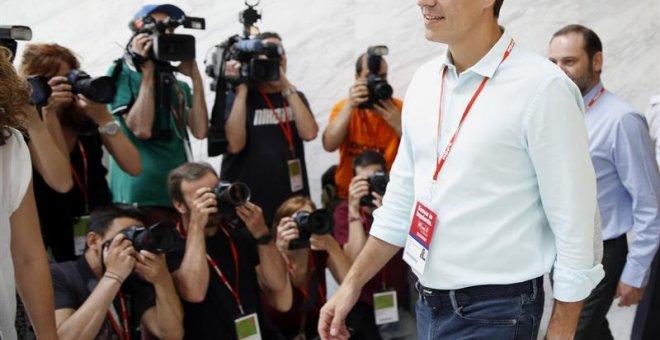 El líder del PSOE, Pedro Sánchez, tras la inauguración del Congreso Federal del PSOE. /EFE