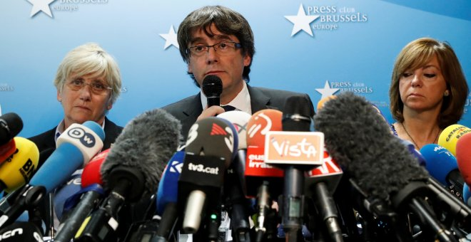 El expresident catalán, Carles Puigdemont, en su comparecencia en el Press Club Brussels Europe, en la capital belga. REUTERS/Yves Herman