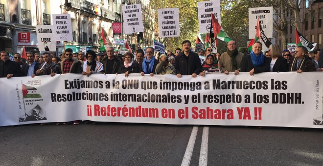 Cabeza de la manifestación del Sáhara Occidental, en Madrid.