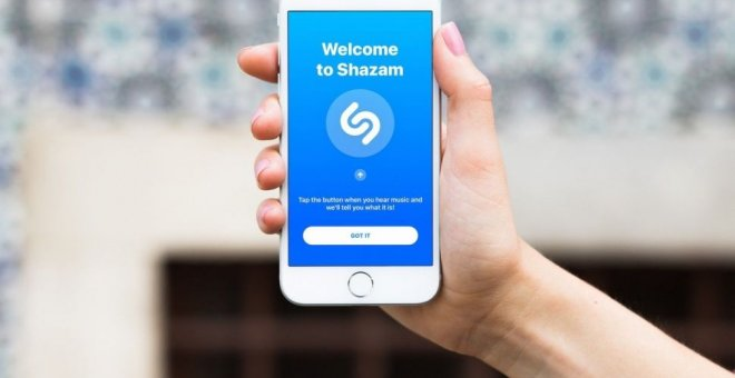 La aplicación Shazam, en un IPhone de Apple.
