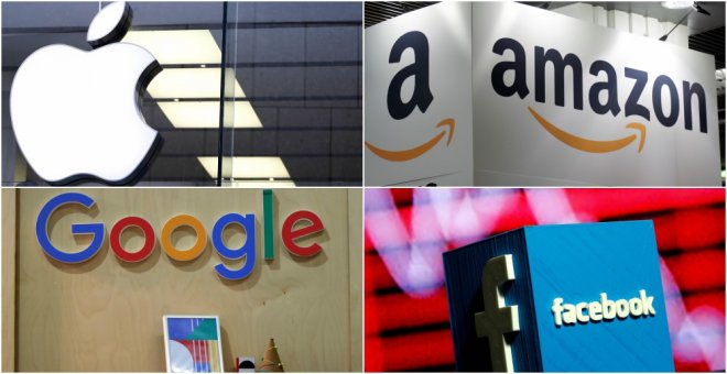 Logos de las empresas tecnológicas Apple, Amazon, Google, y Facebook. REUTERS